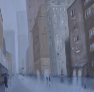 New York in the rain 60x60cm (sold)
