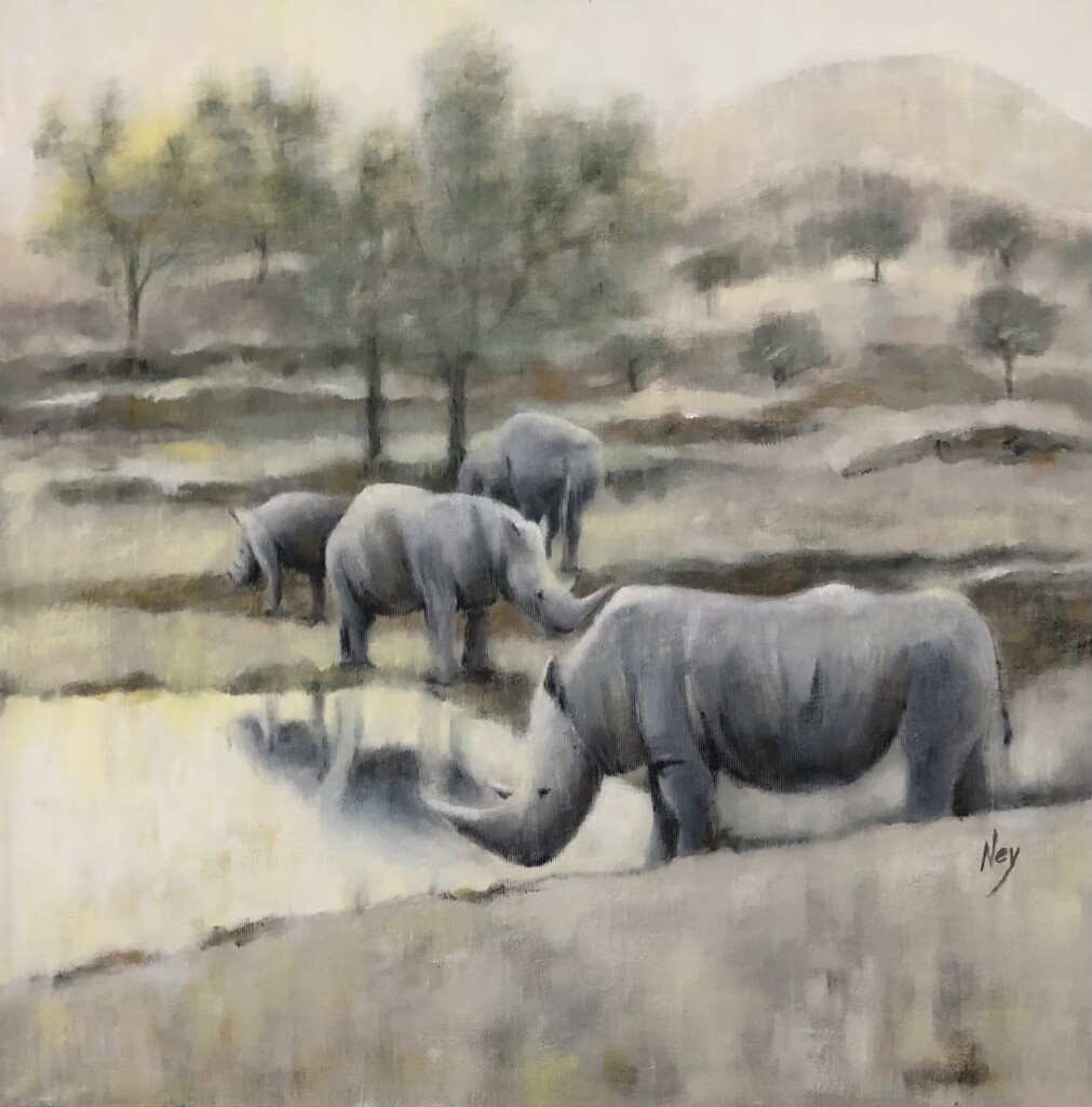 By the water hole, 60 x 60 cm, CHF 600, € 550